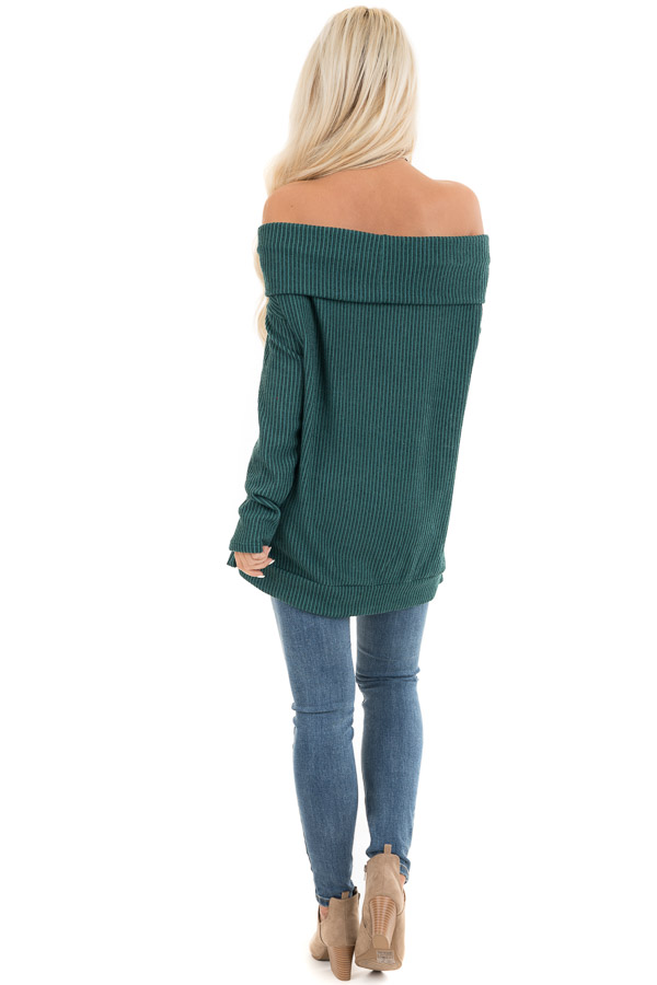 Forest Green Ribbed Off the Shoulder Long Sleeve Sweater back full body