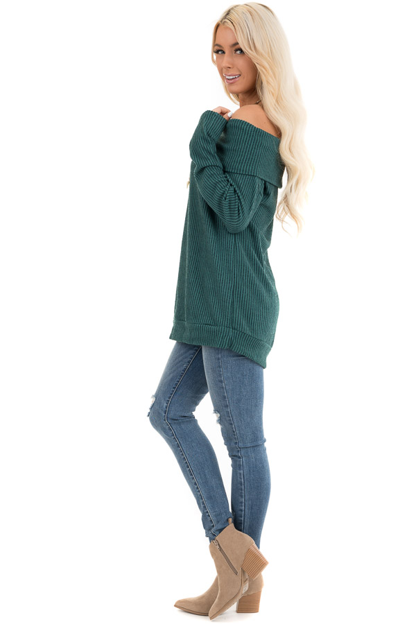Forest Green Ribbed Off the Shoulder Long Sleeve Sweater side full body