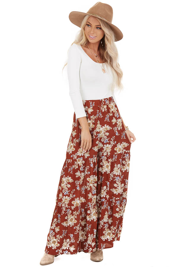 Rust Floral Print Pants with Wide Legs and Elastic Waistband front full body