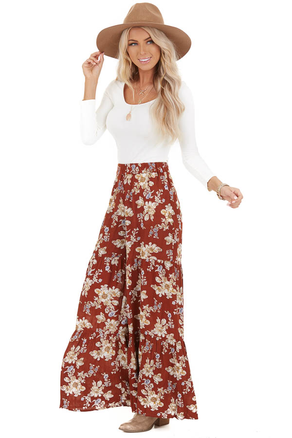 Rust Floral Print Pants with Wide Legs and Elastic Waistband side full body