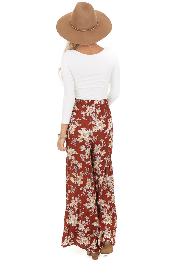 Rust Floral Print Pants with Wide Legs and Elastic Waistband back full body