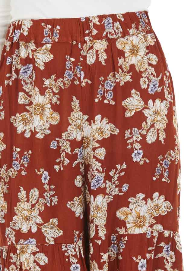 Rust Floral Print Pants with Wide Legs and Elastic Waistband detail