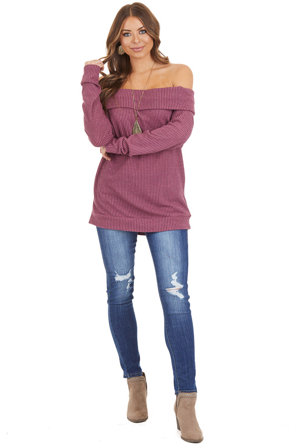 Mixed Berry Ribbed Off the Shoulder Long Sleeve Sweater front full body