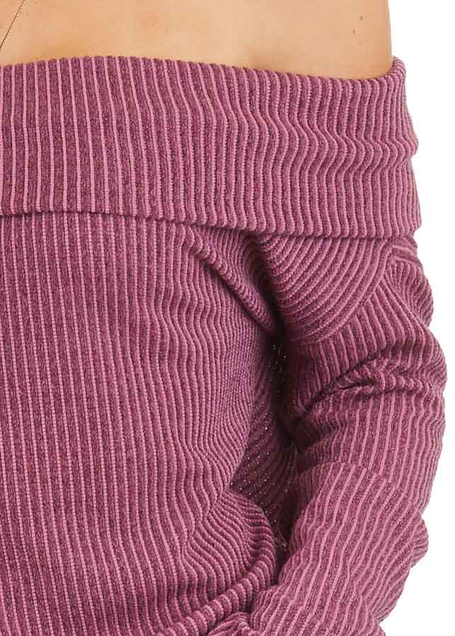 Mixed Berry Ribbed Off the Shoulder Long Sleeve Sweater detail