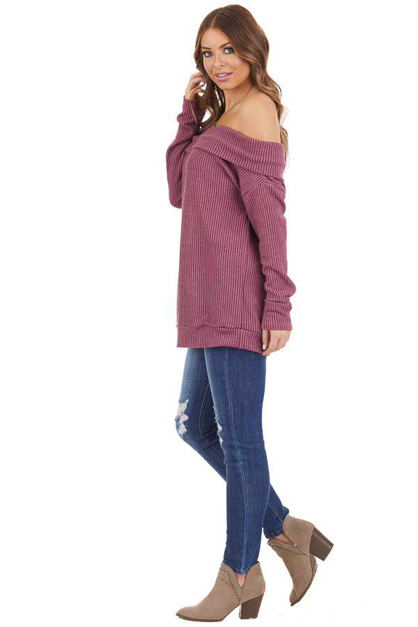 Mixed Berry Ribbed Off the Shoulder Long Sleeve Sweater side full body