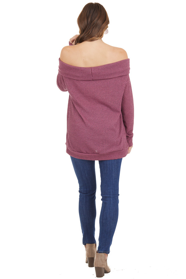 Mixed Berry Ribbed Off the Shoulder Long Sleeve Sweater back full body