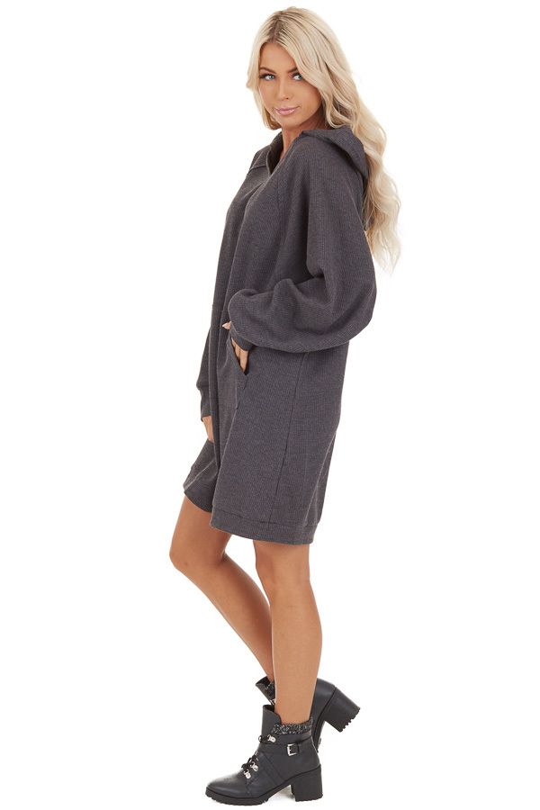 Charcoal Waffle Knit Lightweight Hoodie Dress with Pocket side full body