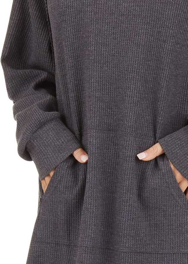 Charcoal Waffle Knit Lightweight Hoodie Dress with Pocket detail