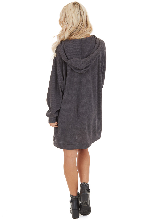 Charcoal Waffle Knit Lightweight Hoodie Dress with Pocket back full body