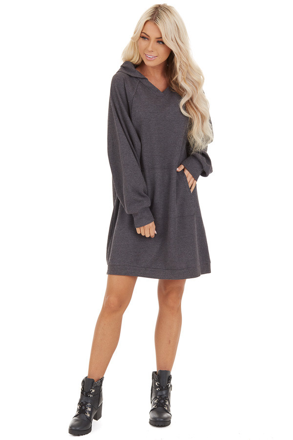 Charcoal Waffle Knit Lightweight Hoodie Dress with Pocket front full body