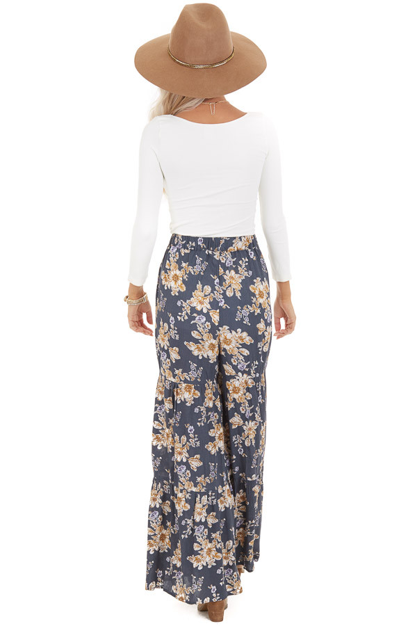 Stone Grey Floral Print Pants with Elastic Waistband back full body