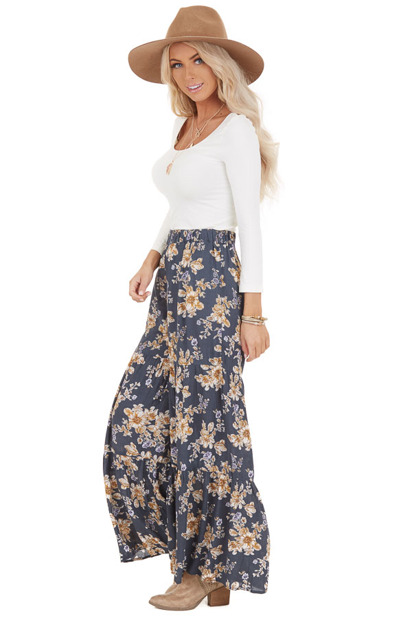 Stone Grey Floral Print Pants with Elastic Waistband side full body