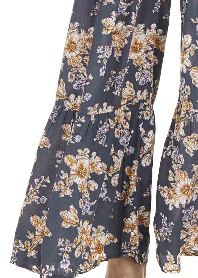 Stone Grey Floral Print Pants with Elastic Waistband detail