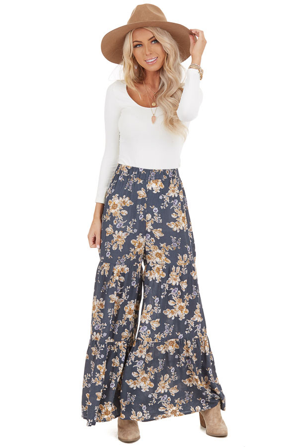 Stone Grey Floral Print Pants with Elastic Waistband front full body