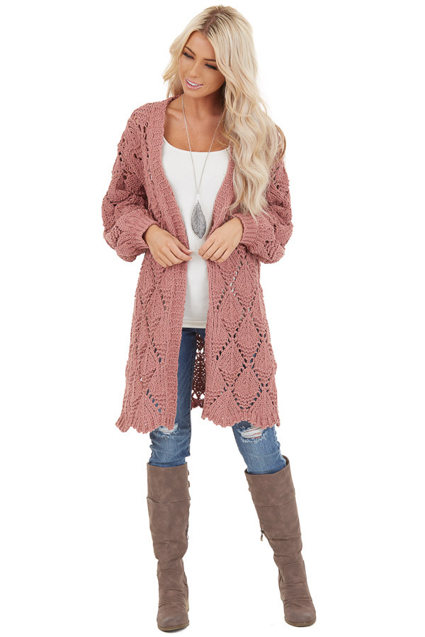 Dusty Rose Loose Knit Cardigan with Puff Sleeves front full body