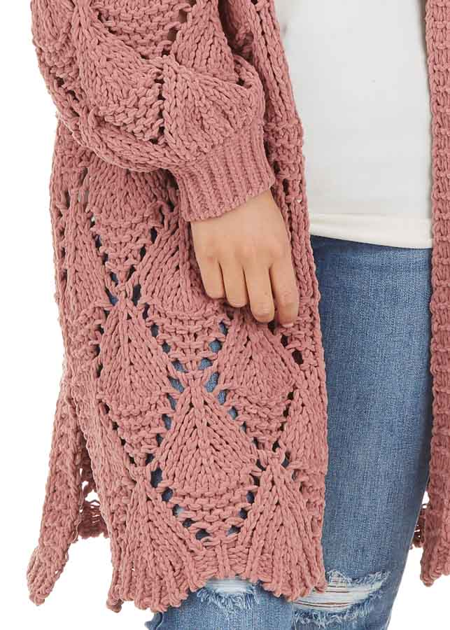 Dusty Rose Loose Knit Cardigan with Puff Sleeves detail