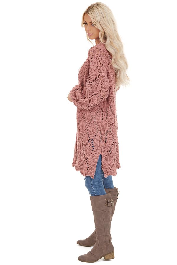 Dusty Rose Loose Knit Cardigan with Puff Sleeves side full body