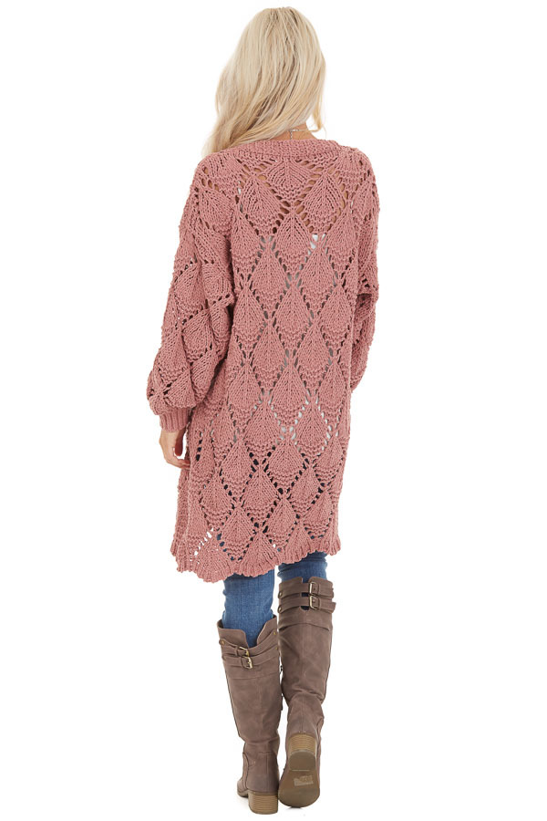 Dusty Rose Loose Knit Cardigan with Puff Sleeves back full body