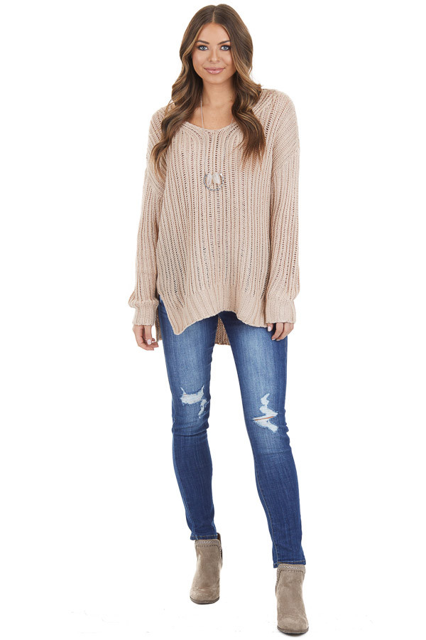 Champagne Long Sleeve V Neck Sweater Top with Side Slits front full body
