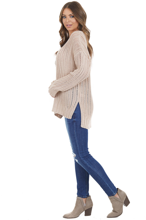 Champagne Long Sleeve V Neck Sweater Top with Side Slits side full body