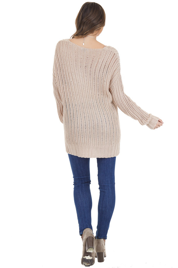 Champagne Long Sleeve V Neck Sweater Top with Side Slits back full body