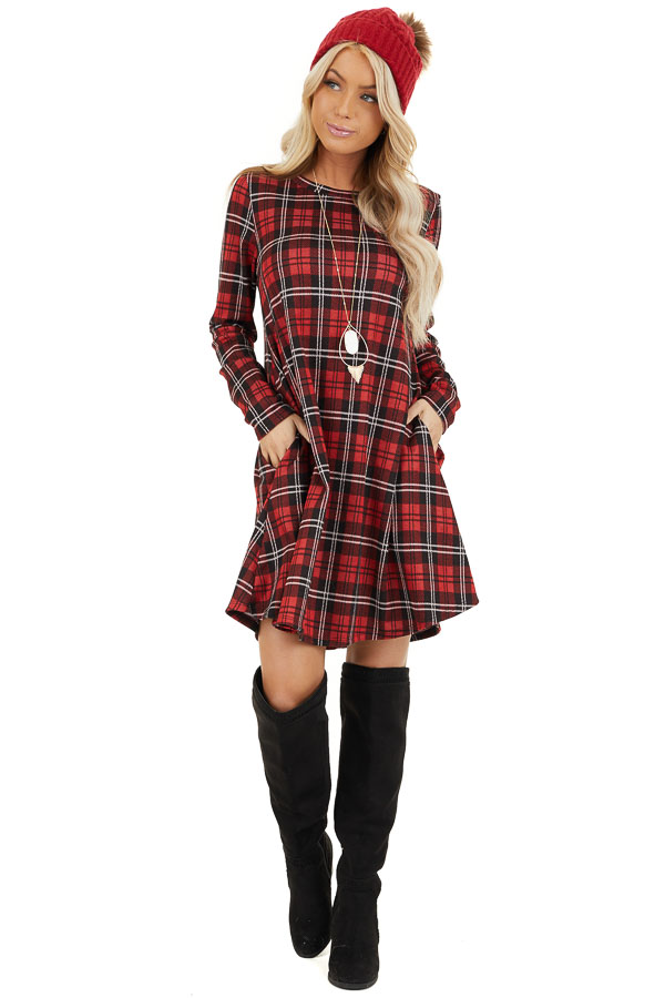 Lipstick Red and Black Plaid Print Dress with Long Sleeves front full body
