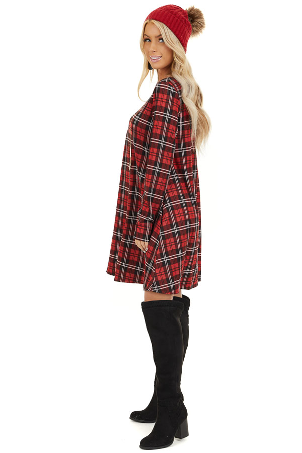 Lipstick Red and Black Plaid Print Dress with Long Sleeves side full body