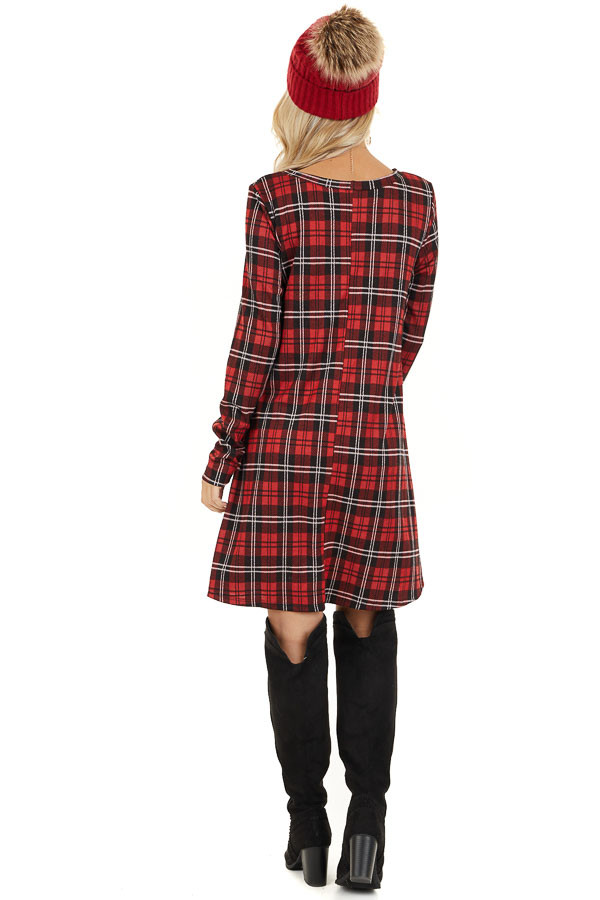Lipstick Red and Black Plaid Print Dress with Long Sleeves back full body