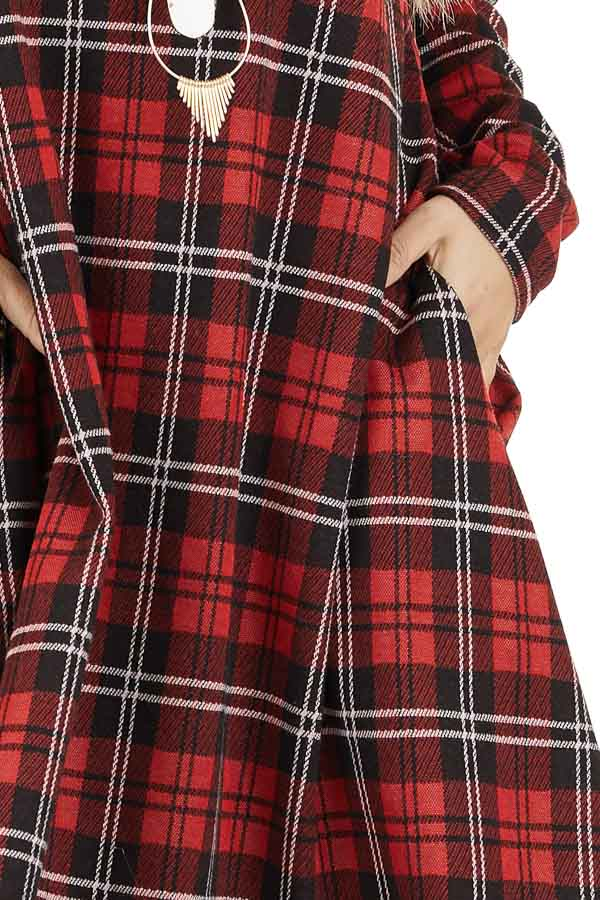 Lipstick Red and Black Plaid Print Dress with Long Sleeves detail