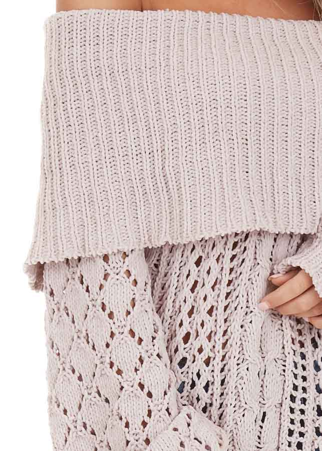 Oatmeal Off Shoulder Loose Knit Chenille Sweater detail