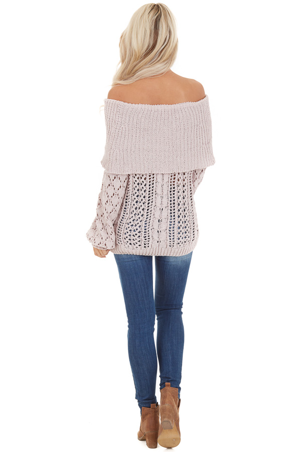 Oatmeal Off Shoulder Loose Knit Chenille Sweater back full body