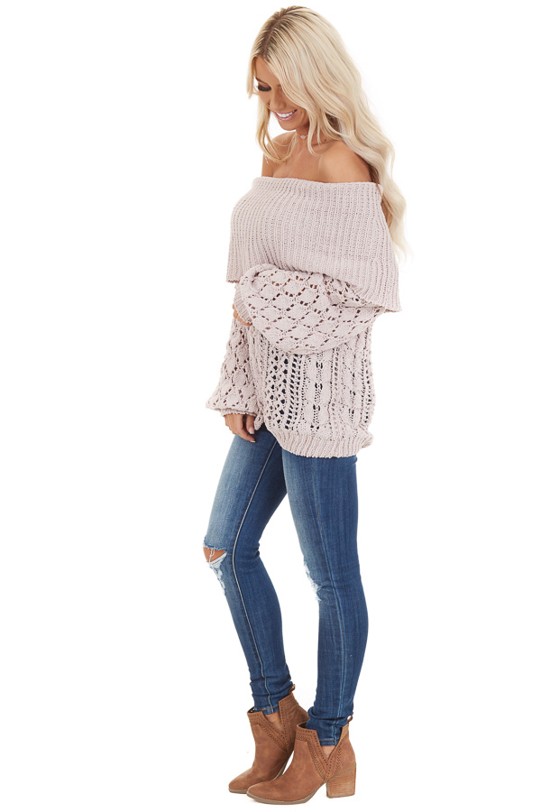 Oatmeal Off Shoulder Loose Knit Chenille Sweater side full body