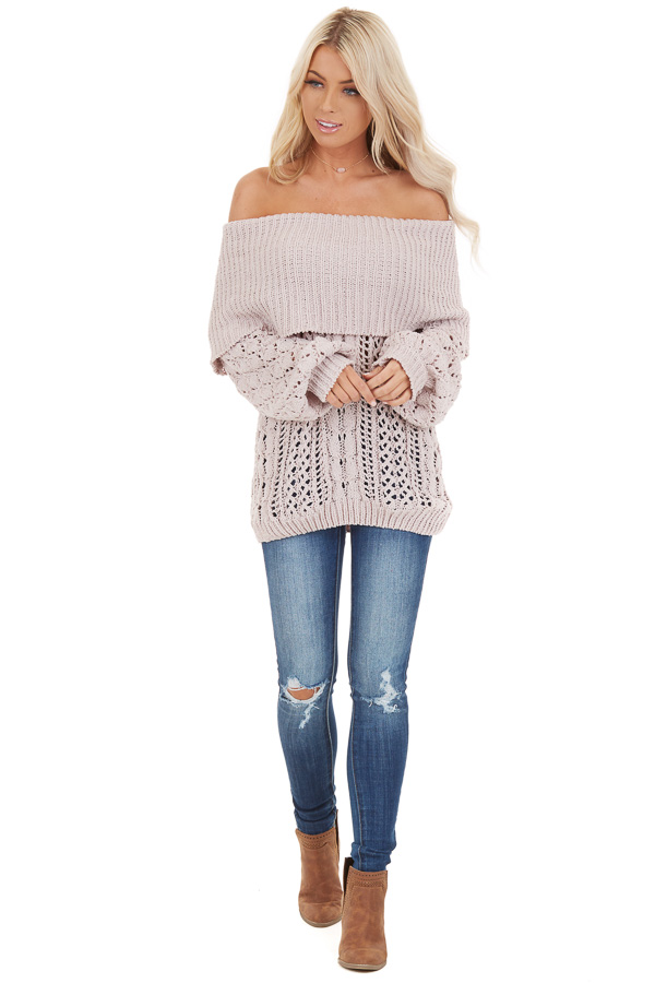 Oatmeal Off Shoulder Loose Knit Chenille Sweater front full body