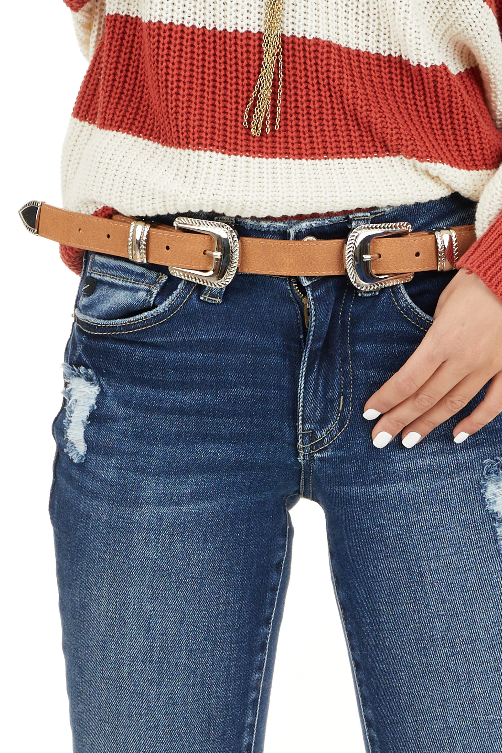 Tan Faux Leather Belt with Silver Double Buckle Detail