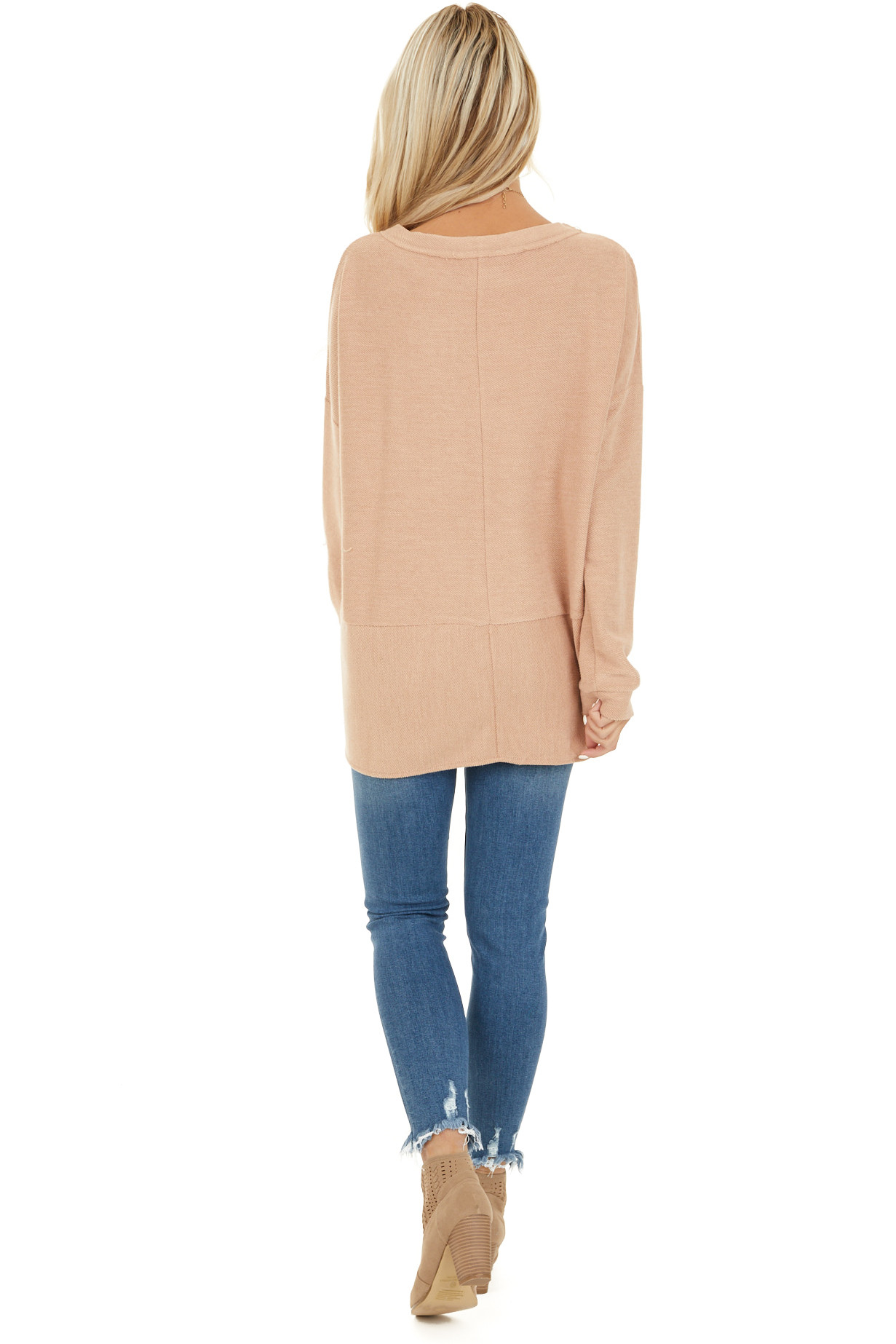 Camel Super Soft Long Sleeve Knit Top with Front Tie back full body