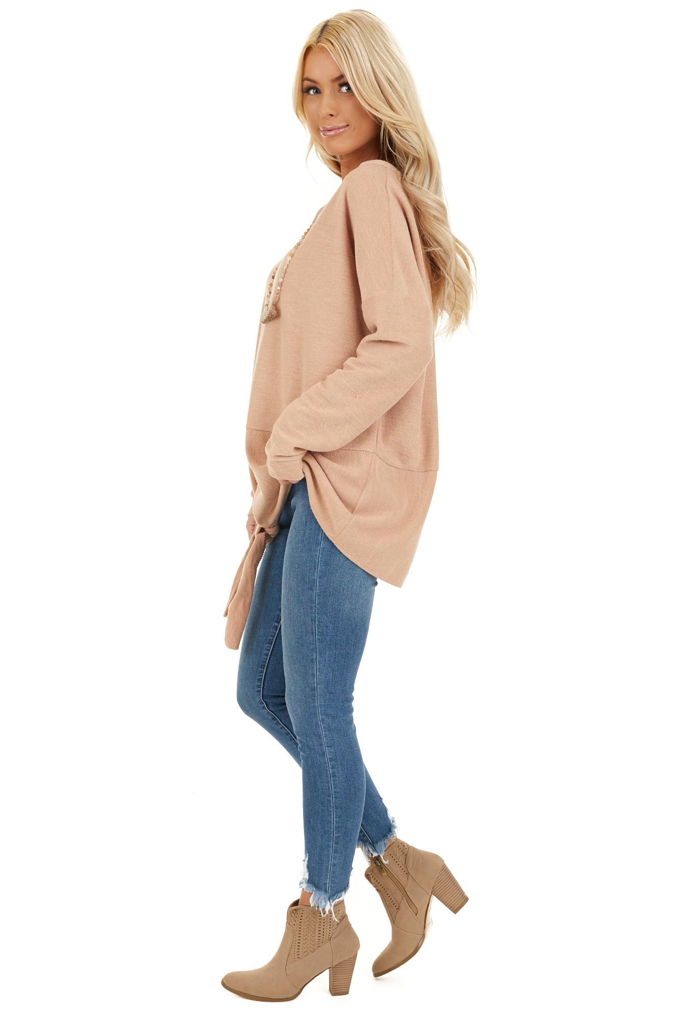 Camel Super Soft Long Sleeve Knit Top with Front Tie side full body