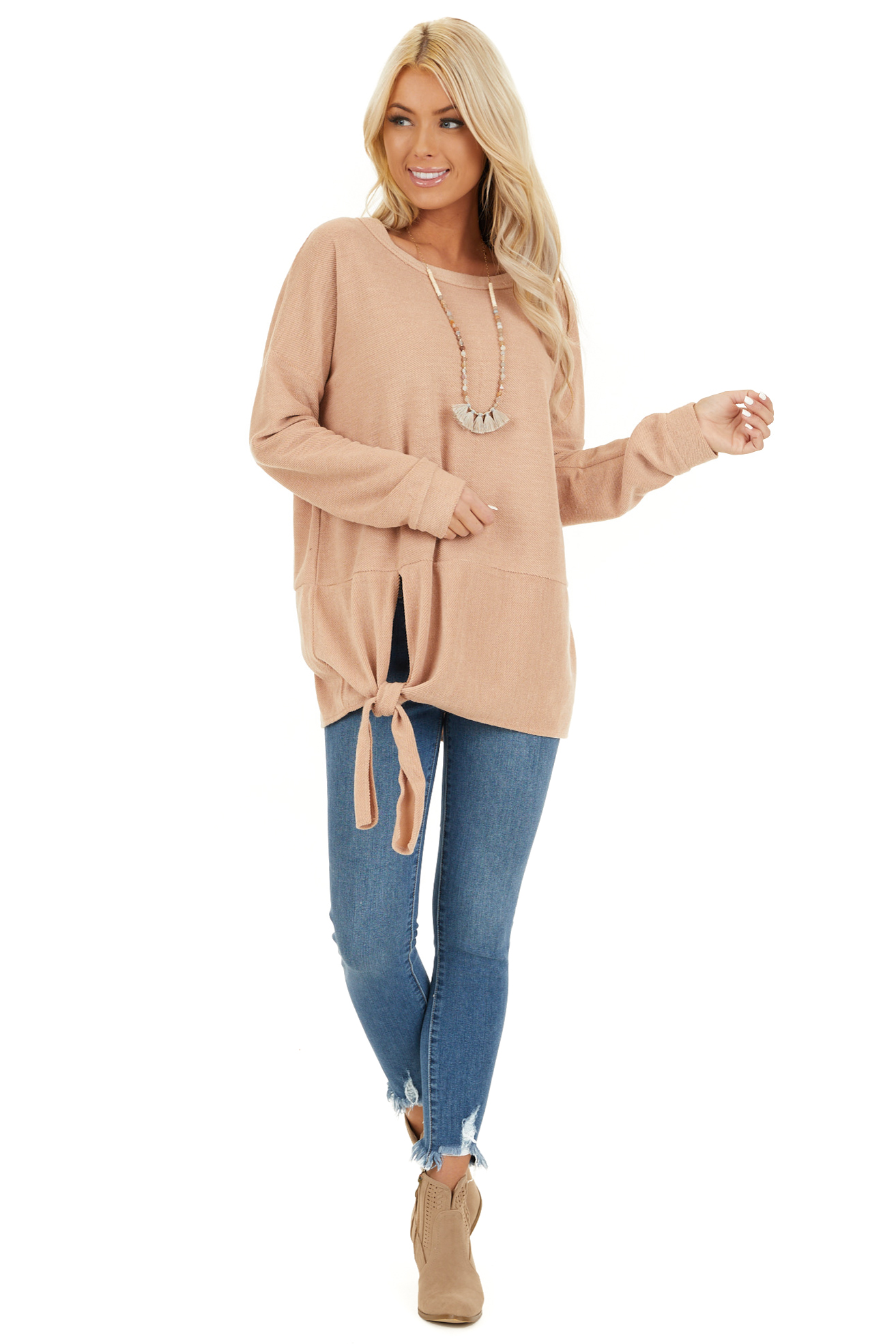 Camel Super Soft Long Sleeve Knit Top with Front Tie front full body