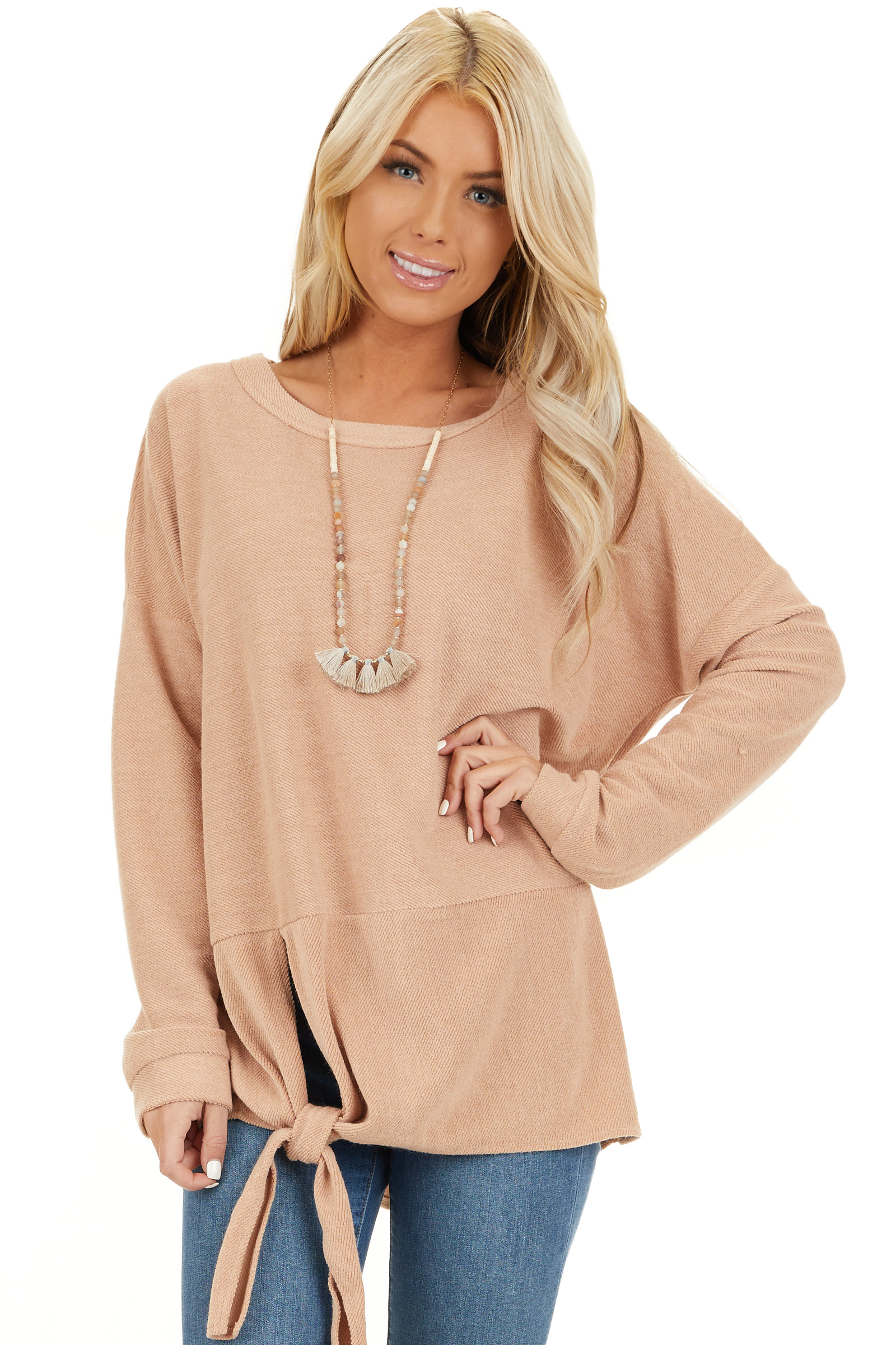 Camel Super Soft Long Sleeve Knit Top with Front Tie closeup