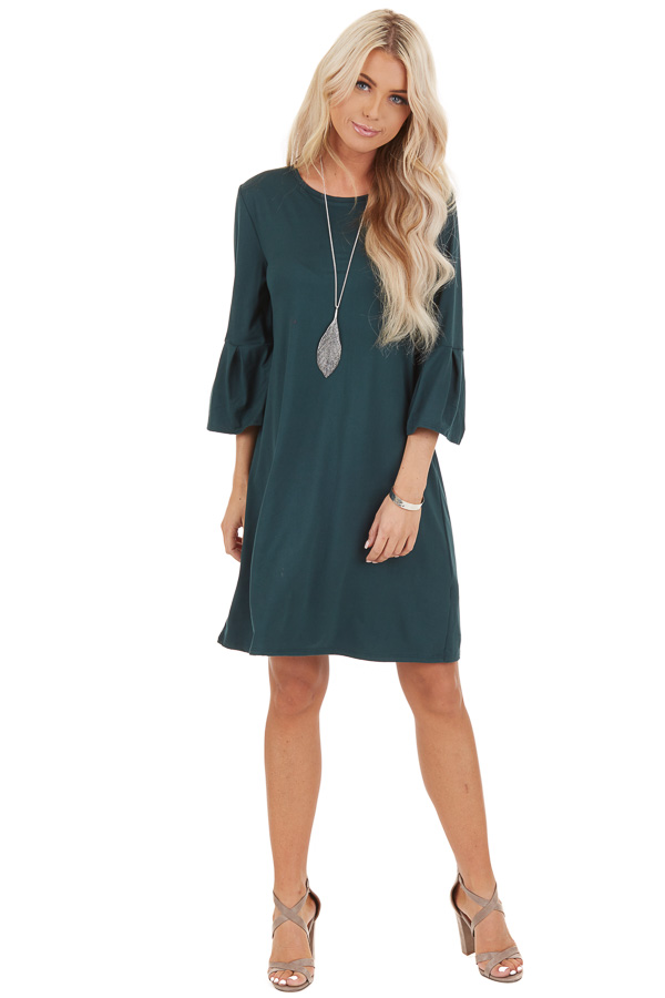 Hunter Green Shift Dress with 3/4 Trumpet Sleeves front full body