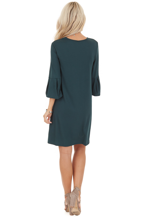 Hunter Green Shift Dress with 3/4 Trumpet Sleeves back full body