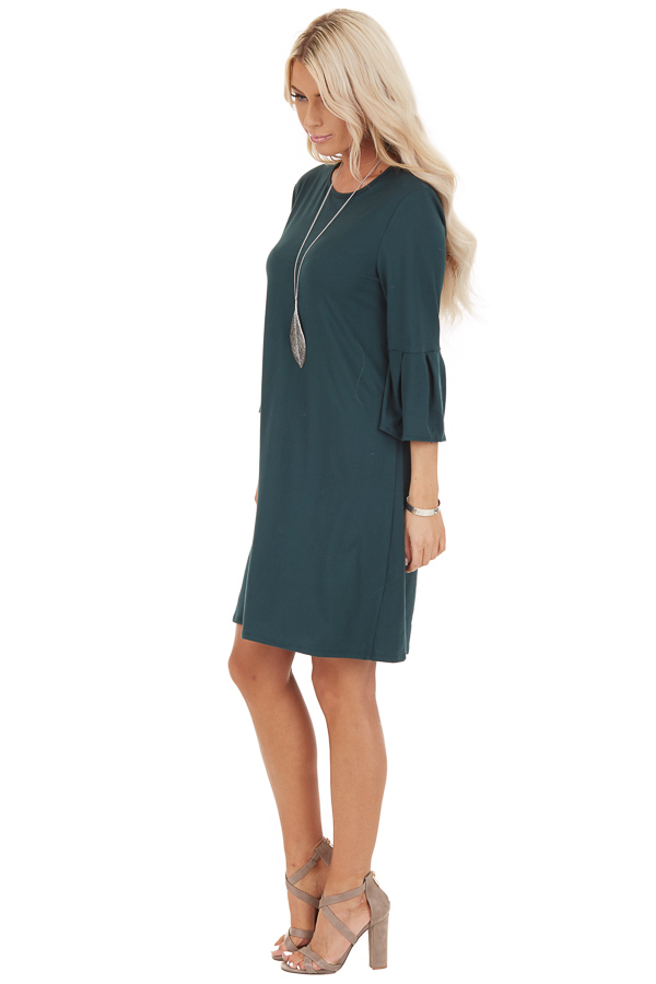 Hunter Green Shift Dress with 3/4 Trumpet Sleeves side full body