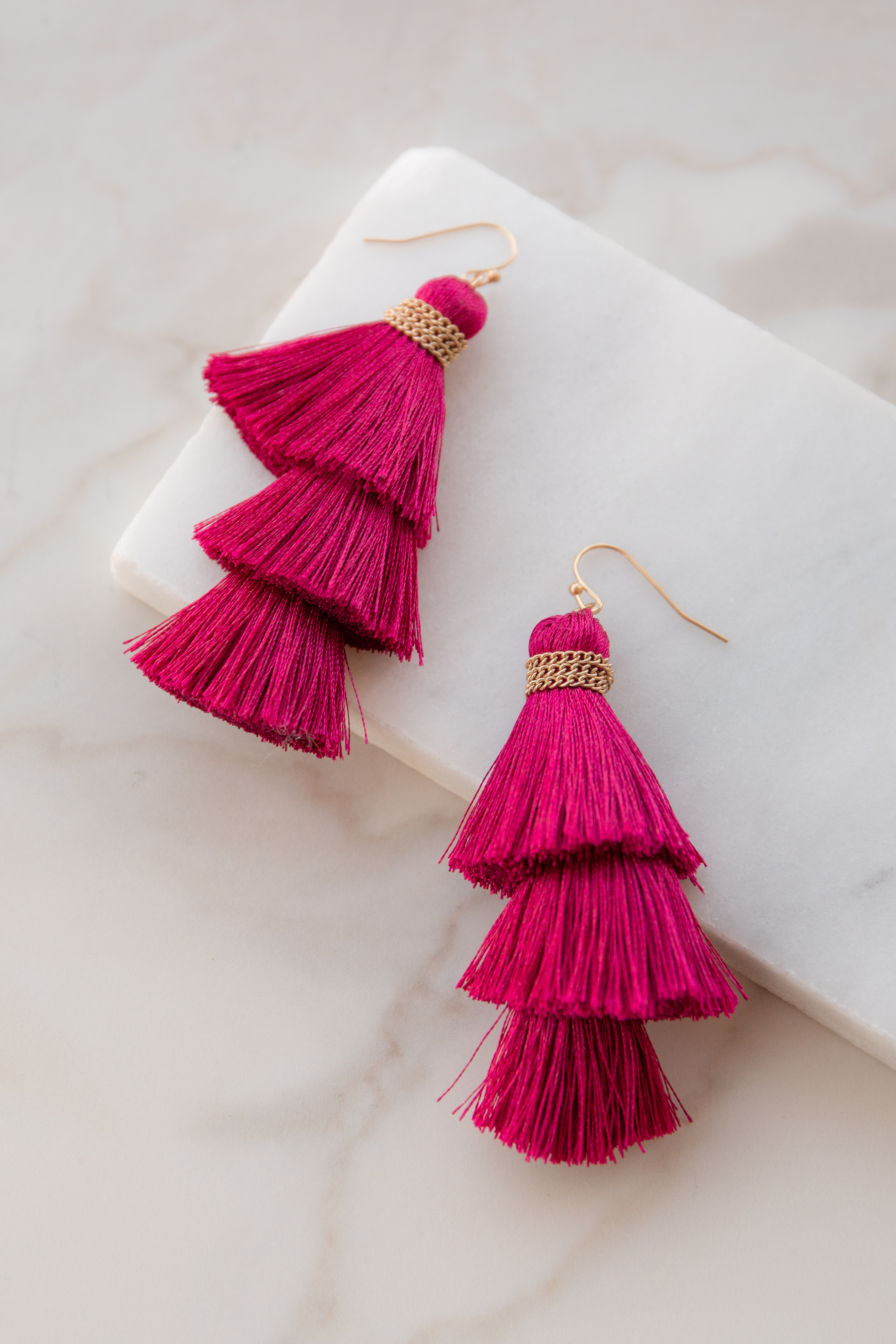 Wine Tiered Tassel Thread Earrings with Gold Details