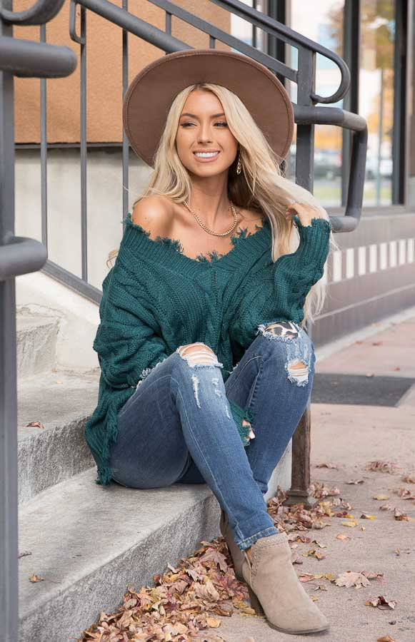 Deep Teal Cable Knit V Neck Sweater with Frayed Hems