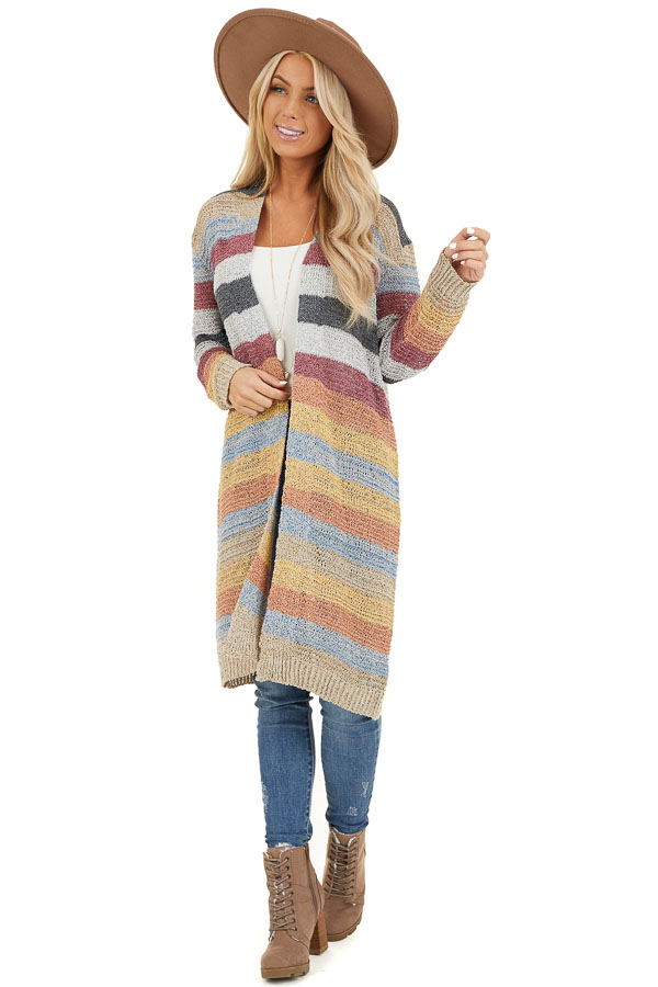 Multi Color Striped Knit Cardigan with Long Sleeves front full body