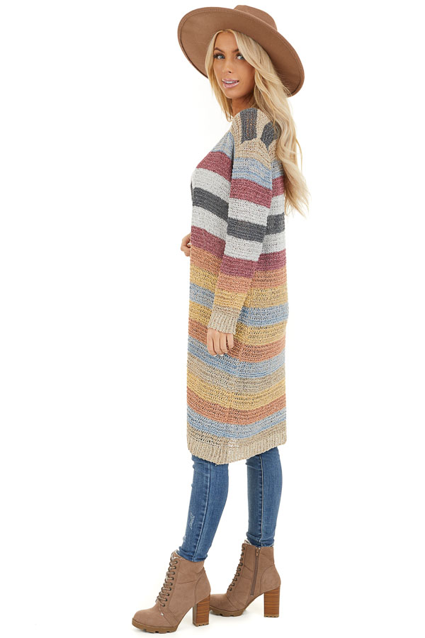 Multi Color Striped Knit Cardigan with Long Sleeves side full body