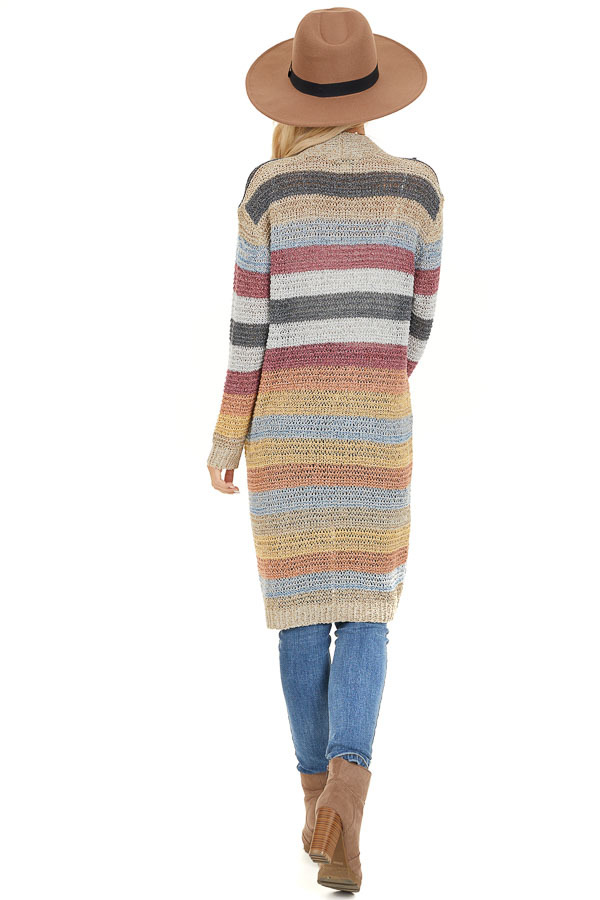 Multi Color Striped Knit Cardigan with Long Sleeves back full body