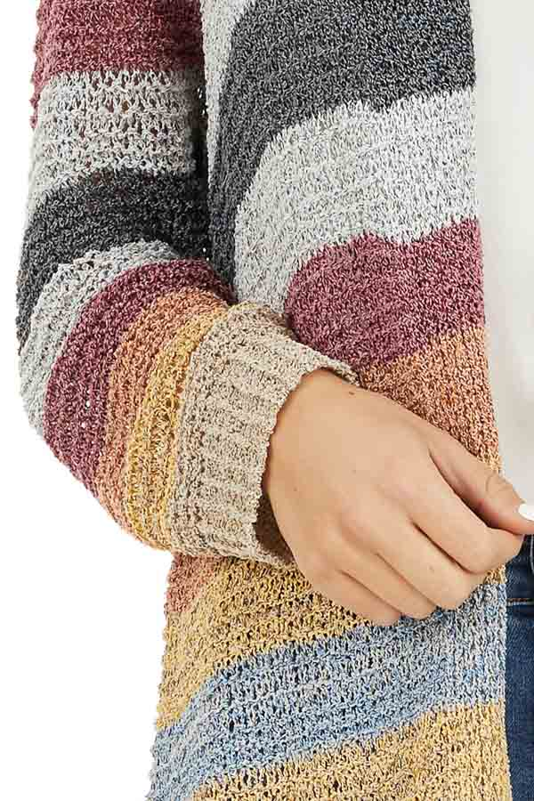 Multi Color Striped Knit Cardigan with Long Sleeves detail