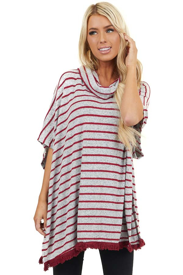 Grey and Ruby Striped Cowl Neck Poncho Style Top with Fringe
