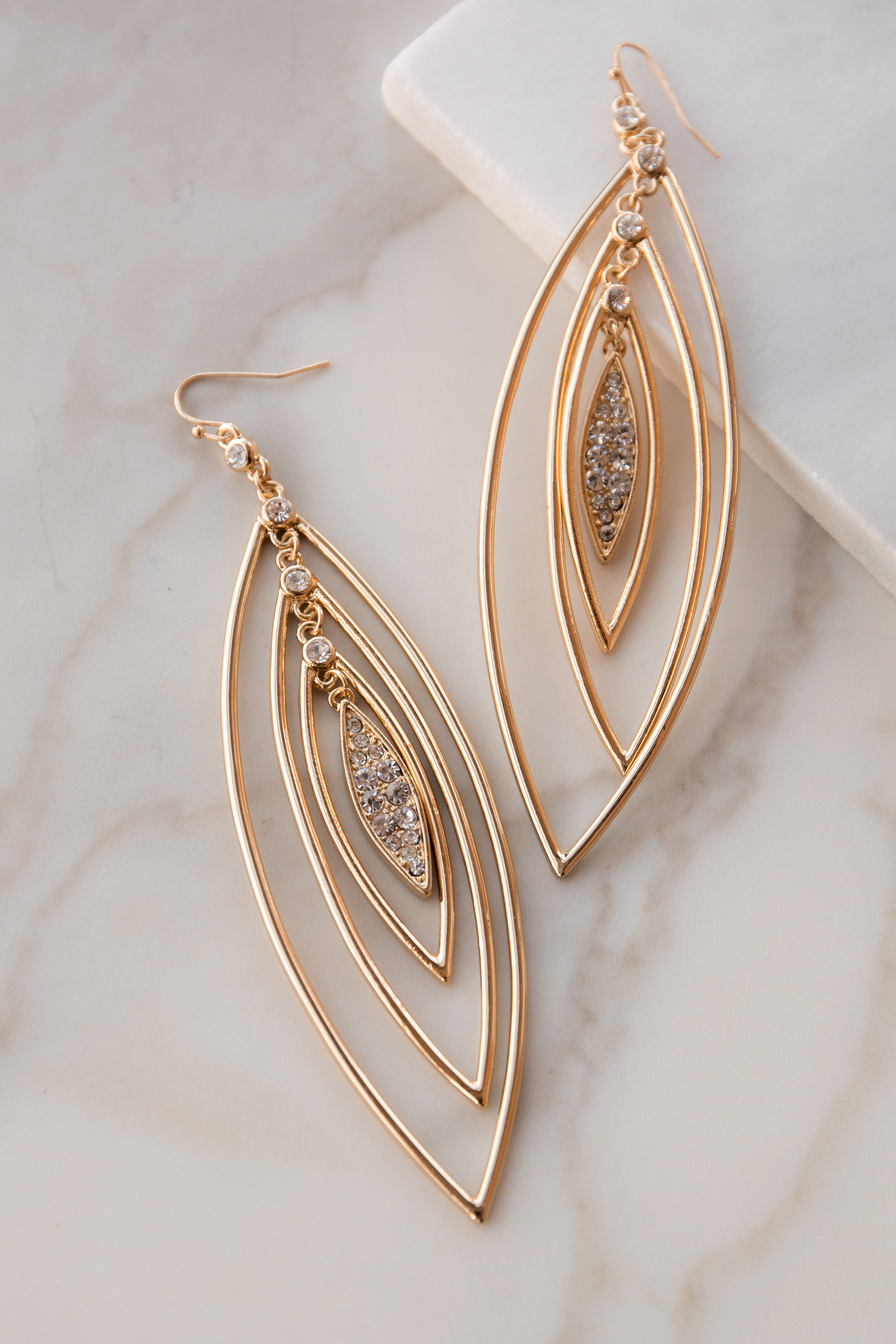 Gold Long Layered Oval Earrings with Jewel Details