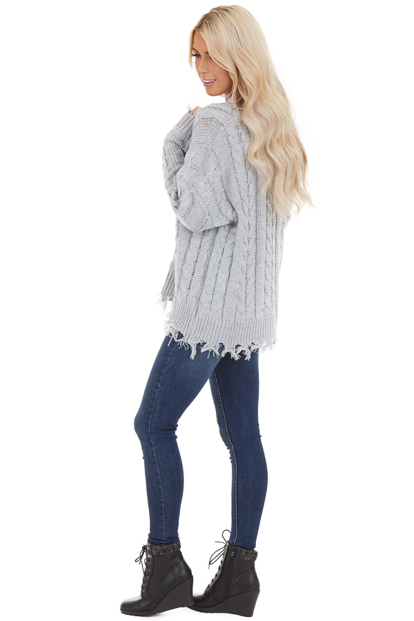 Silver Cable Knit V Neck Sweater with Frayed Hems side full body